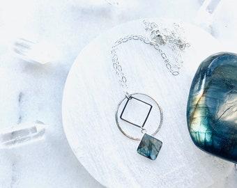 The Secret - Gemstone Geometric Necklace