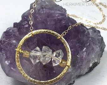 Strive to Become - Herkimer Diamond or Pyrite Circle Pendant Necklace