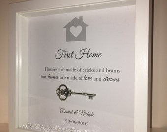 Handmade Personalised Box Frame, New Home or First Home Present with Key - Loose Diamonds & sparkle.. Perfect personalized gift, happy home