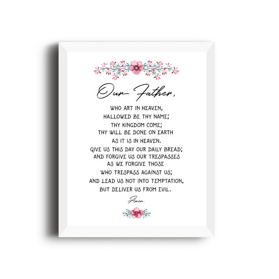 picture relating to Printable Our Father Prayer identified as Our Dad prayer printable, Catholic Prayer, Lords Prayer, Bible Verse Printable, Christian house decor, Bible artwork print, Scripture Print