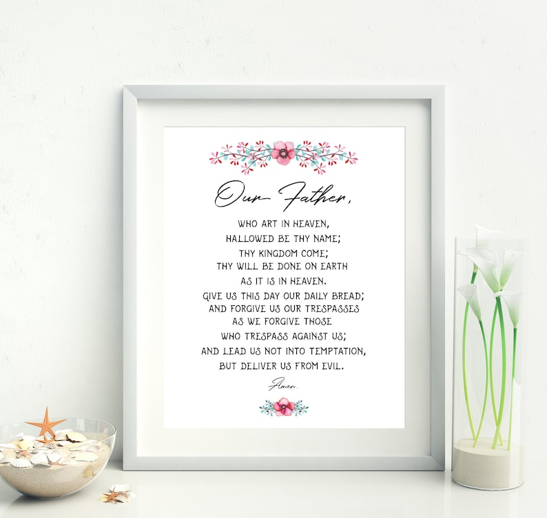 graphic about Printable Our Father Prayer known as Our Dad prayer printable, Catholic Prayer, Lords Prayer, Bible Verse Printable, Christian residence decor, Bible artwork print, Scripture Print