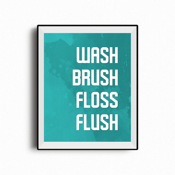 graphic about Printable Bathroom Rules called Clean brush floss flush, lavatory printable, lavatory suggestions, toilet signal, little ones lavatory artwork, legislation indicator, lavatory wall artwork, rest room decor