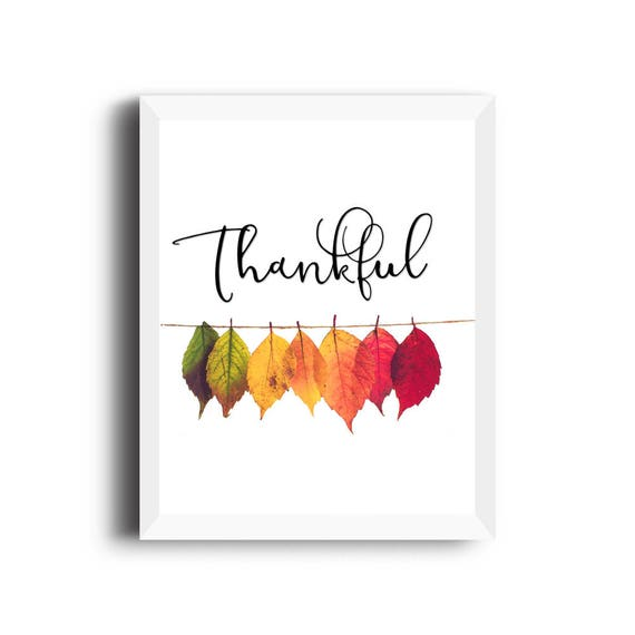 image relating to Thankful Leaves Printable called Thanksgiving decor Autumn leaves Grateful printable Thanksgiving present  Grateful indication Drop property decor Tumble leaves Autumn hues