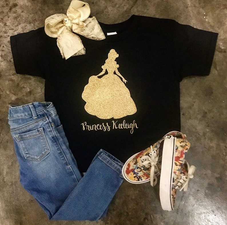 cdcb86dd84 FREE Shipping!Princess shirt. Black and gold glitter monogrammed top.  T-shirt for babies, toddlers, girls and women! Personalized tee.