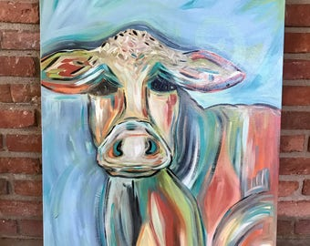 Large cow painting/ranch decor/ cattle/ pretty cow art/cow painting/ colorful cow painting