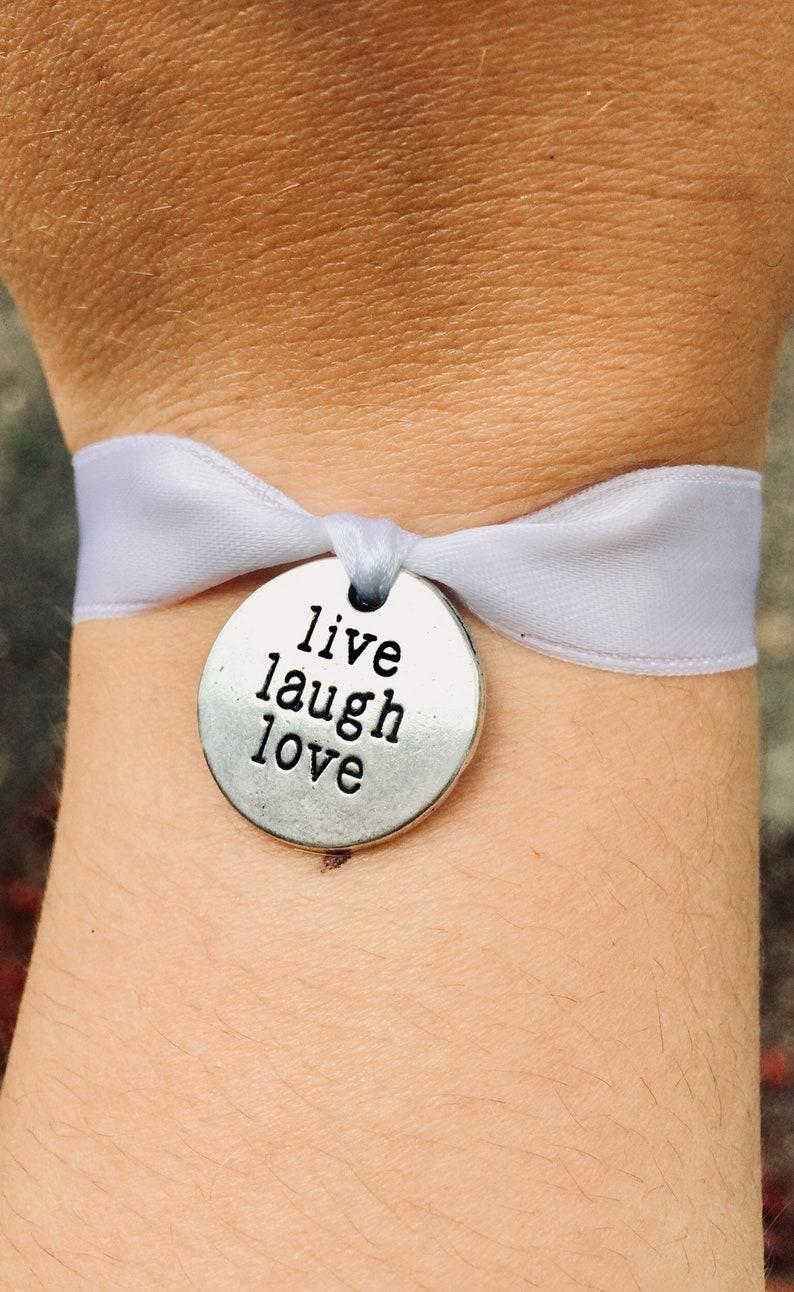 Live Laugh Love Bracelet White Ribbon Bracelet Hand Stamped Bracelet Positive Quote Gifts Positivity Bracelet Bracelets For Women Engraved