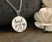 Beach Girl necklace, Sterling Silver, Circle Charm, Beach Life, Ocean, Sun, Waves