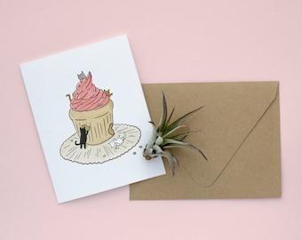 Cats 'n Cupcakes Birthday Card - Blank Card, Cat Birthday Card, Cupcake Birthday Card, Cute Birthday Card, Funny Birthday Card