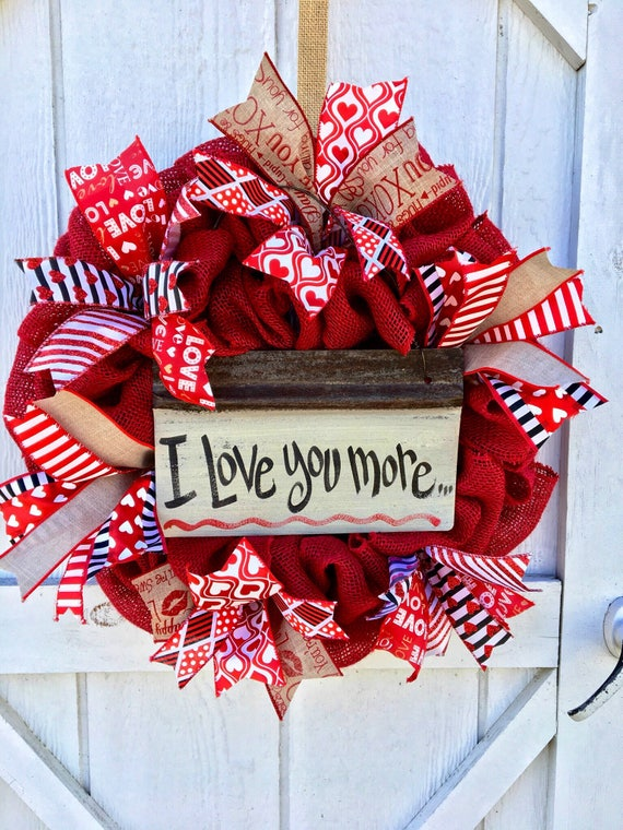 Valentines Wreathvalentines Day Signs And Decorvalentines Etsy