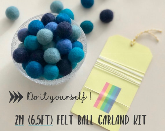 Felt Ball Garland Kit - 2m in Shades of Blue