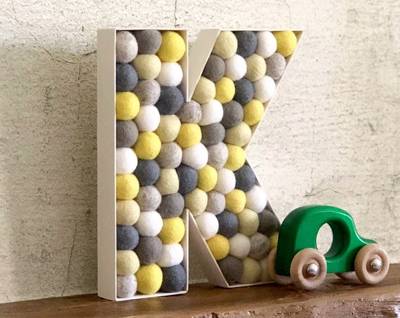 Yellow and Grey Nursery Letter