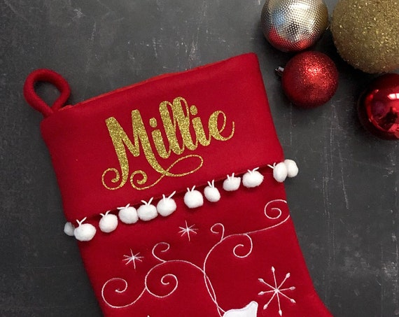 Personalised Felt Christmas Stocking With Pom Pom Trim