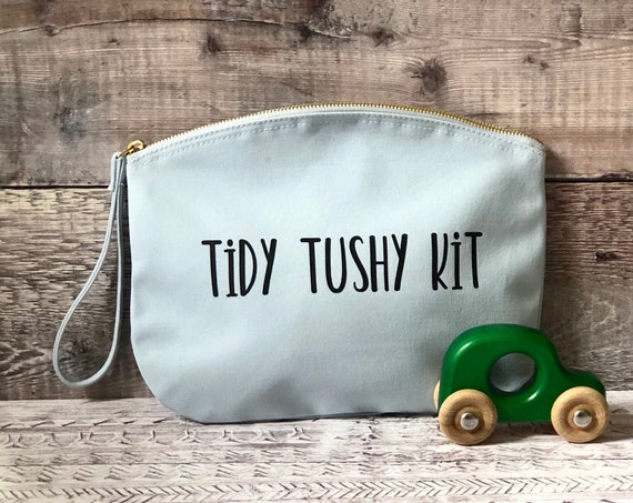Tidy Tushy Diaper Clutch in pink & blue