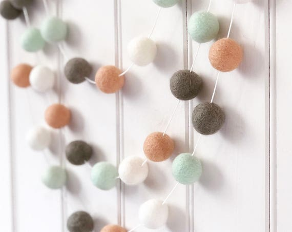 Pom Pom Garland in Peach and Mint