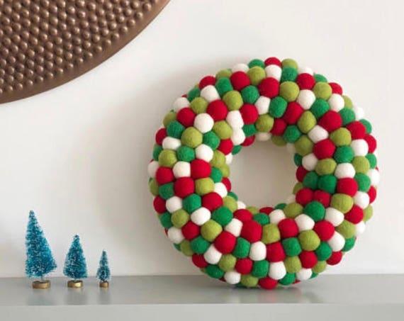 Felt Ball Christmas Wreath, Scandinavian Christmas, Rustic Christmas Decor, Holiday Wreath, Pom Pom Wreath