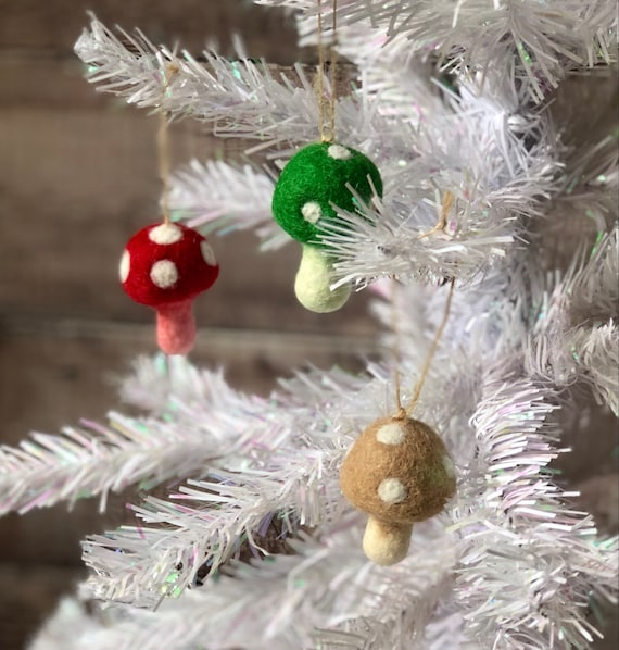 Felted Toadstool Christmas Tree Ornaments