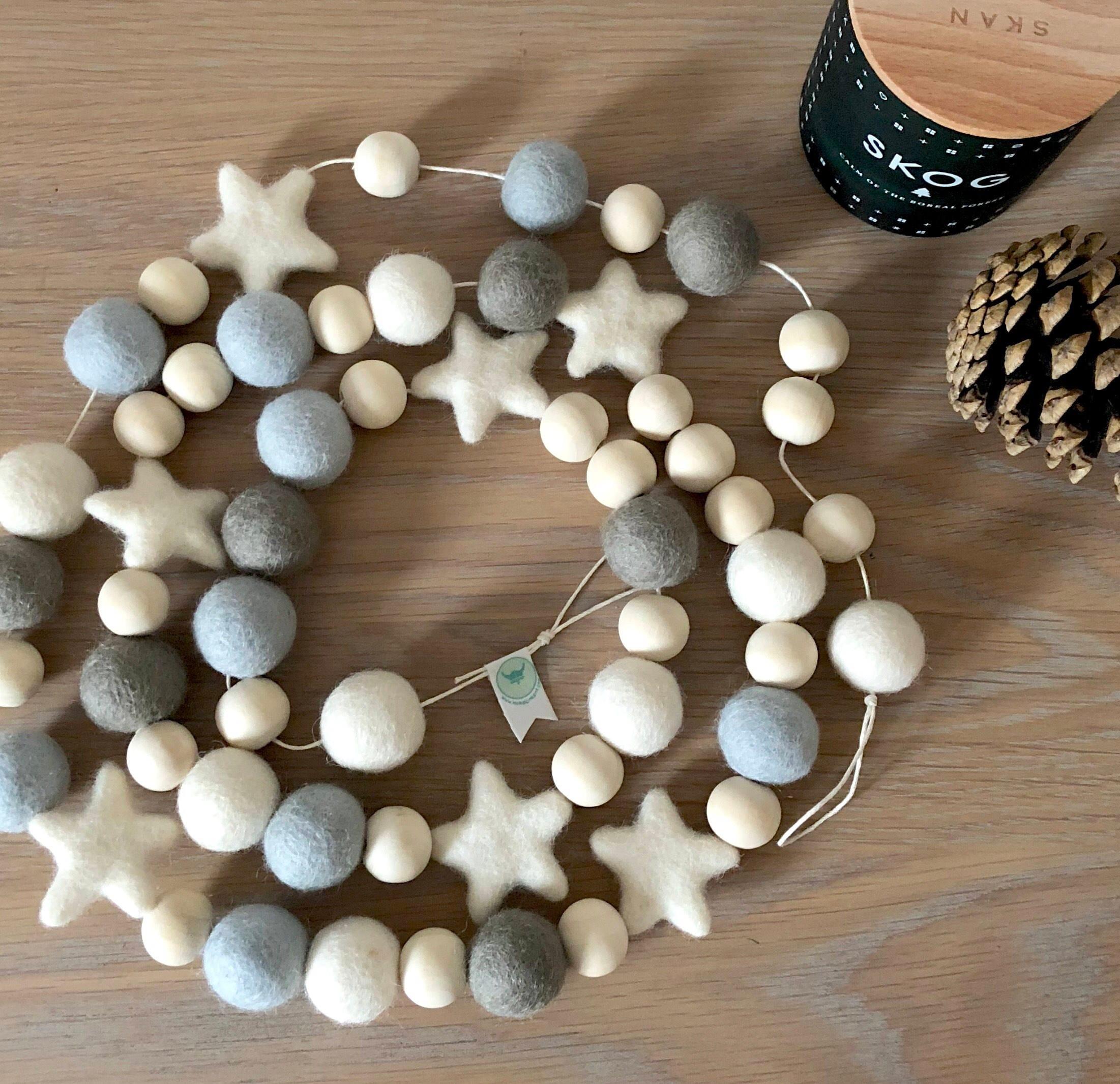 scandinavian style wood bead garland rustic christmas garland pom pom garland nordic christmas farmhouse holiday decor mantle decor - Christmas Bead Garland