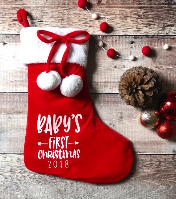 Baby's First Christmas Pom Pom Stocking