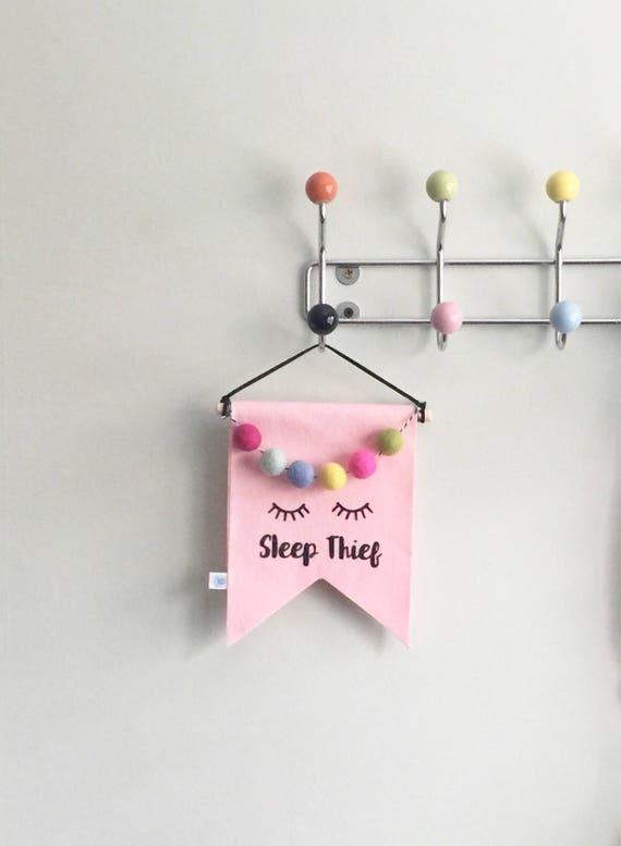 Pink Sleep Thief Slogan  Felt Flag