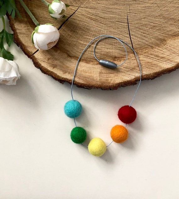 Rainbow Felt Ball Necklace
