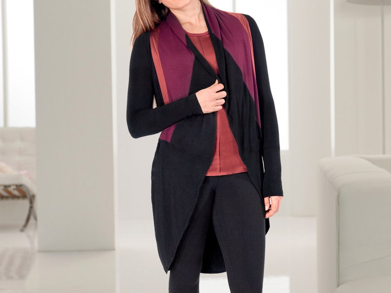 a2491a64d0 Unique Draped Black and Burgundy Jacket / Luxuriously Soft   Etsy