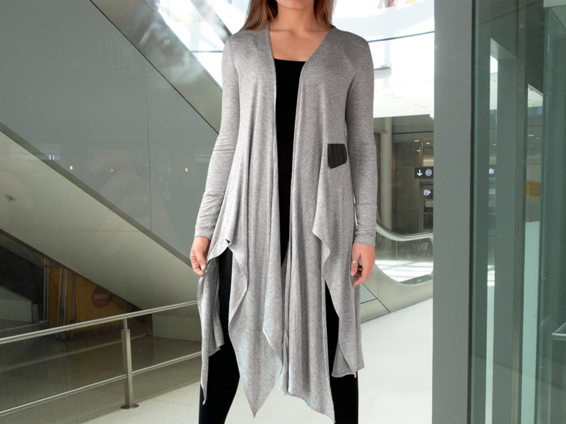 7bcf163292 Cardigan Yoga Cover-up / Softly Sculpted Asymmetric Jersey   Etsy