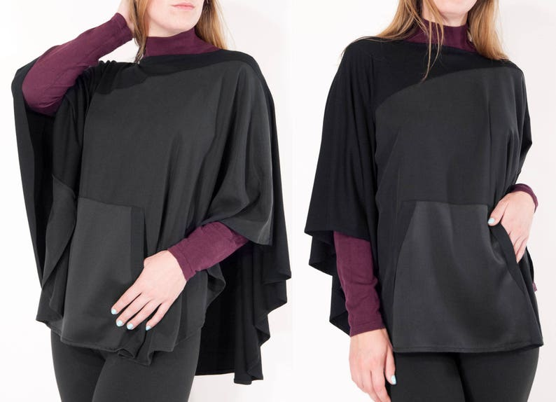 f0f41c022b0 Dressy Cape   Lightweight Stylish Black Poncho Cape   Minimalist Designer  Cover-up   Elegant Dressy Poncho Cape of Jersey and Silk   Tasha