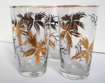 Set 4 Black Gold Cordial Juice Glasses Vintage