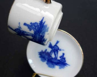 Dutch Souvenir Miniature Cup Saucer and Stand Vintage