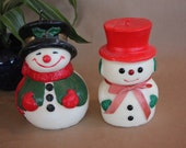 1970 39 s Vintage - Christmas Figural Candles - Unused - Snowman Snowmen - Set of TWO ( 2 ) - 7 1 2 inches tall - Good to Very Good Condition