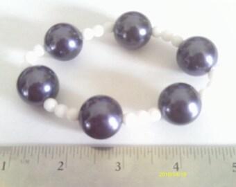 Stretchy Men's White and Blue Bracelet