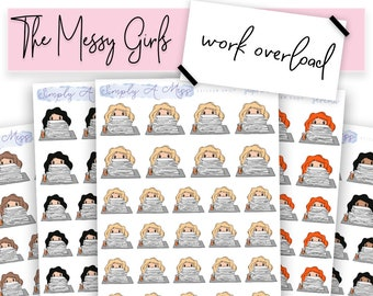 Work Overload/Stressed - The Messy Girls | Character Planner Stickers for Various Planners