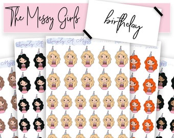 Birthday - The Messy Girls | Character Planner Stickers for Various Planners