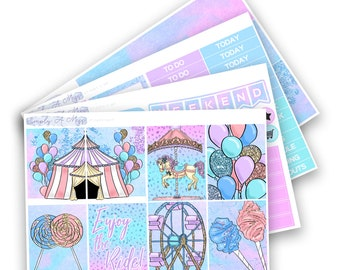 Carnival Collection - Mini Kit   Planner Stickers for Erin Condren Vertical Life Planner