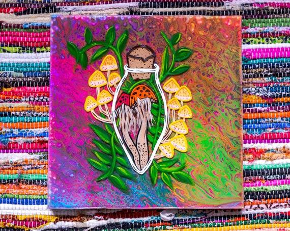 Nature's Potion  on 12x12 Canvas  - Neon Paint Pour!