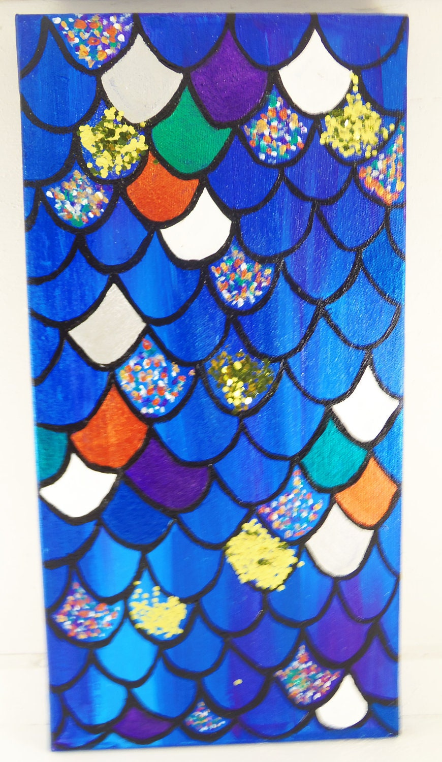 8x16 Blue Mermaid Scale Painting - Mixed Media