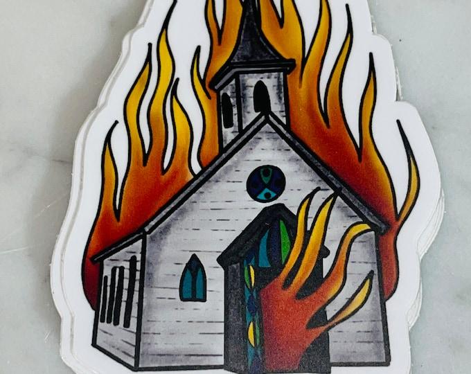 Burning Church Sticker