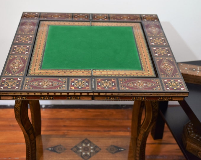 Featured listing image: Game Table, Cards Table, Poker table, Chess Table, Marquetry Wood, Syrian Mosaic, Side Table, Syrian Mosaic, Wooden Home Decor, Syrian Art