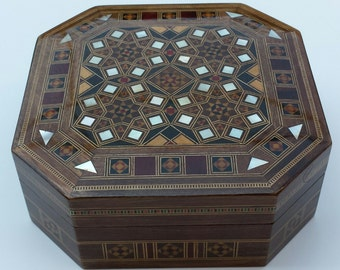 Wooden Jewelry Box, Multipurpose Storage Wooden Box, Syrian mosaic box, Home Decor, Gift for him, Gift for her, Trinket box, Woodworking Art