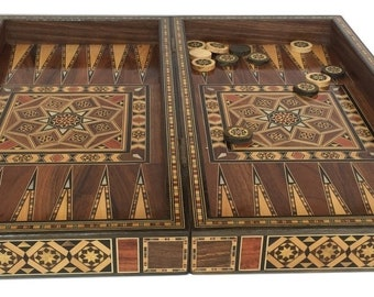 Backgammon, Backgammon Board, Chess Board, Wooden Backgammon, Carved Backgammon, Syrian artisan mosaic backgammon, Marquetry Backgammon