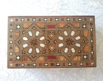 Marquetry Jewelry Box - Wooden Box - Wood Box - Syrian Mosaic - Marquetry wood - inlay.