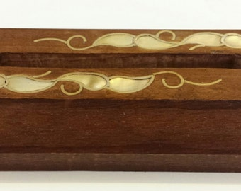 Wooden, Inlaid, Business Card Holder, Wood Inlay Art