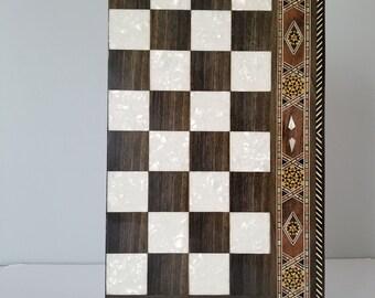 "Chess Board 16"", Backgammon medium size, Backgammon Board, Wooden chess board, Carved Backgammon, Syrian artisan mosaic backgammon, gift"