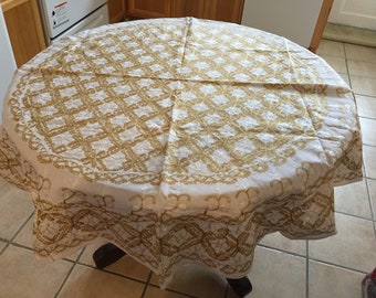 tablecloth, round, 74 inches, and 8 napkins, Aghabani Tablecloth, Embroidered beige tablecloth, Syrian textiles, Beige and gold tablecloth