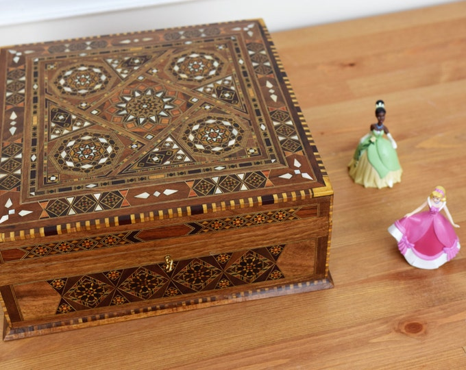 Featured listing image: Tea Box, Multipurpose Box, Storage Box, Wood Inlay art, Syrian Mosaic, Marquetry Wood Box, Mother of Pearl, Trinket Box, Wooden Home Decor