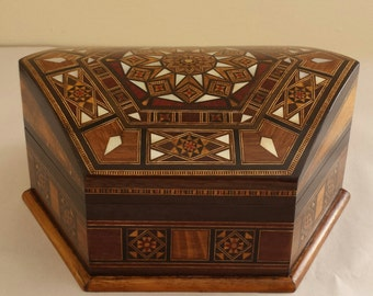 Marquetry Jewelry Box - Wooden Box - Wood Box - Syrian Mosaic - Marquetry wood - inlay