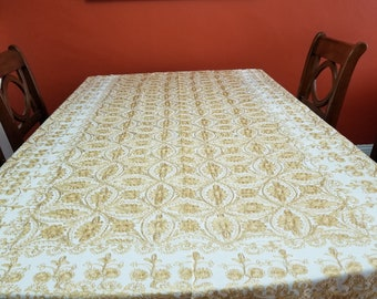 Tablecloth 100 X 60 inches, and 10 napkins, Aghabani Tablecloth, Embroidered Beige tablecloth, Syrian textiles, Beige and gold tablecloth