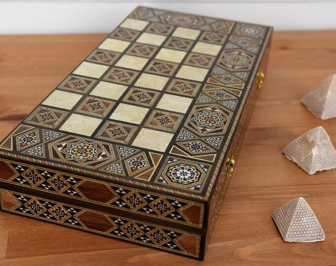 Featured listing image: Backgammon, Backgammon Board, Chess Board, Wooden Backgammon, Carved Backgammon, Syrian artisan mosaic backgammon, Marquetry Backgammon