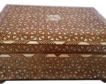 Jewelry Box, Large jewelry box, Mother of Pearl box, Syrian Jewelry box, Syrian Mosaic, Marquetry wood jewelry box,