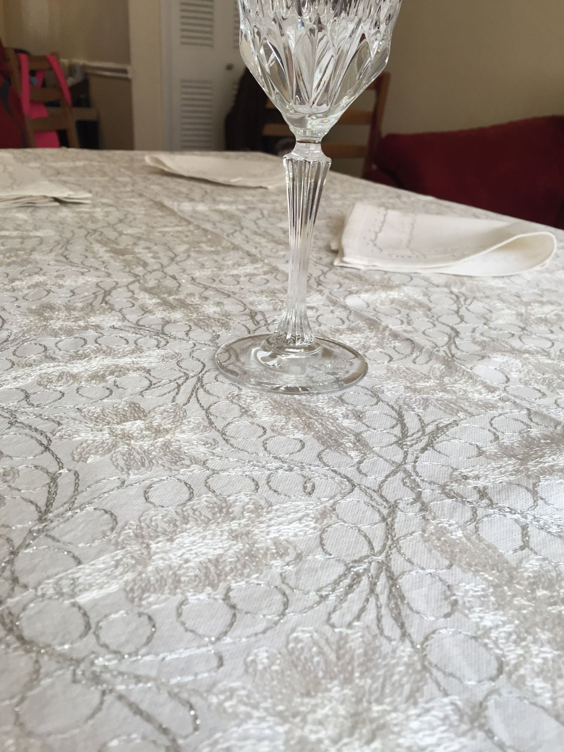 Tablecloth 80 X 60 Inches, And 8 Napkins, Aghabani Tablecloth, Embroidered  White Tablecloth, Syrian Textiles, White And Silver Tablecloth